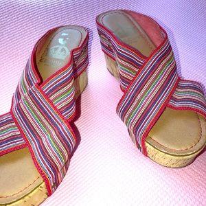 Crown Vintage cork platform wedge slip on sandals